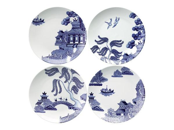 blue china plates