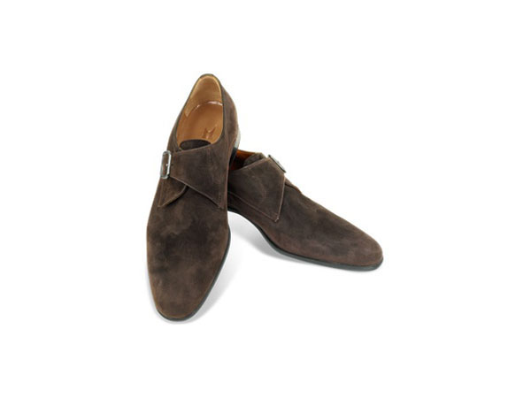 Kobe Dark Brown Suede Monk Strap Shoes