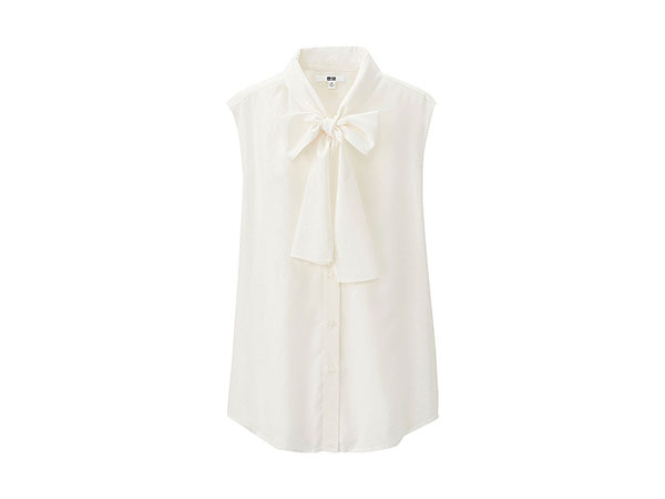 Uniqlo bow tie sleeveless blouse