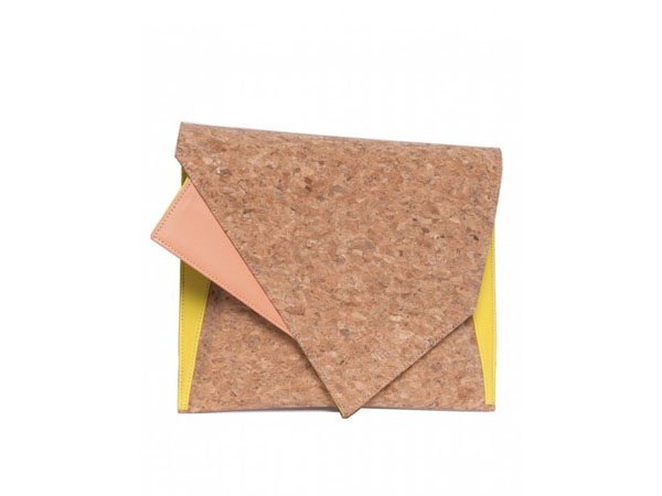 Cork and leather clutch from Georgina Skalidi