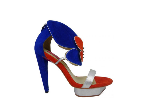 Orange and blue velvet angel sandals from Pring Paris