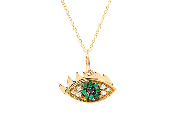 Diamond, emerald and gold eye necklace from Delfina Delettrez