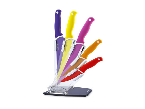 Multi-coloured knife block from Sabichi