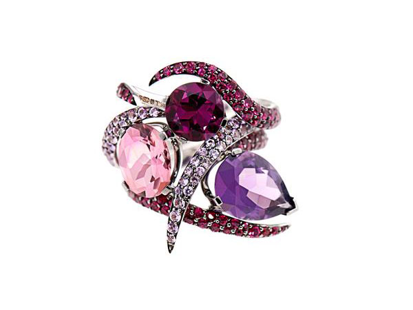 Amethyst, ruby, sapphire and gold ring set from Shaun Leane