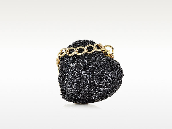Black glitter heart clutch from Love Moschino