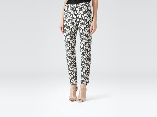 Pisa black and white floral print trousers from Reiss