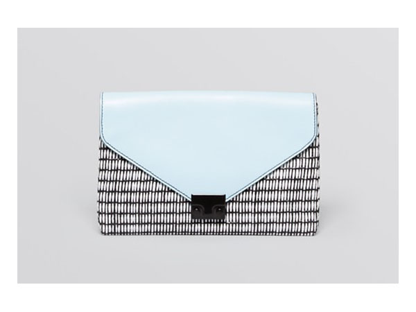 Raffia and saffiano leather clutch from Loeffler Randall