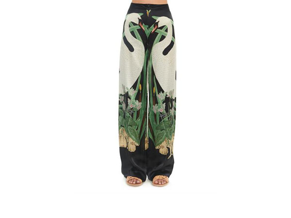 Swan print wide-leg silk trousers from Adriana Degreas