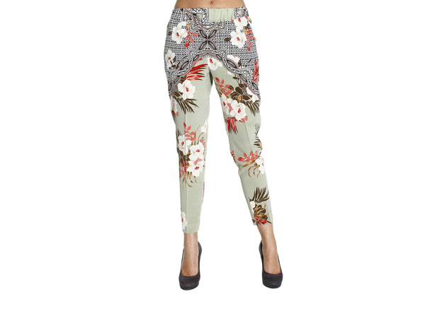 Wide flower silk print trousers from Etro