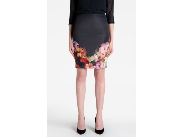 Kaikai cascading floral pencil skirt from Ted Baker