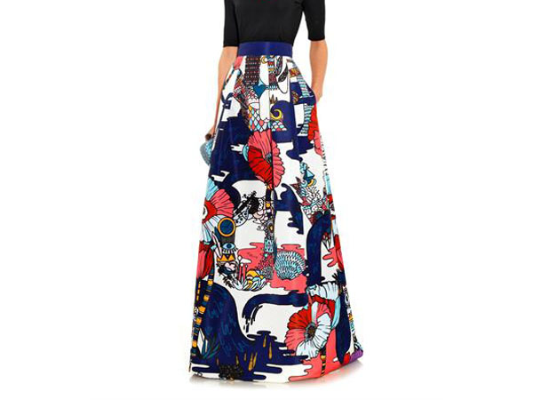Midlar poppies liquorice print skirt from Mary Katrantzou