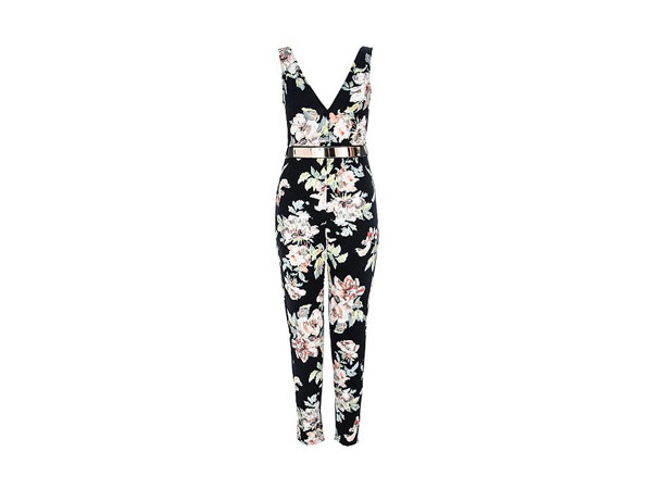 Multi-coloured flower and belt jumpsuit from Quiz