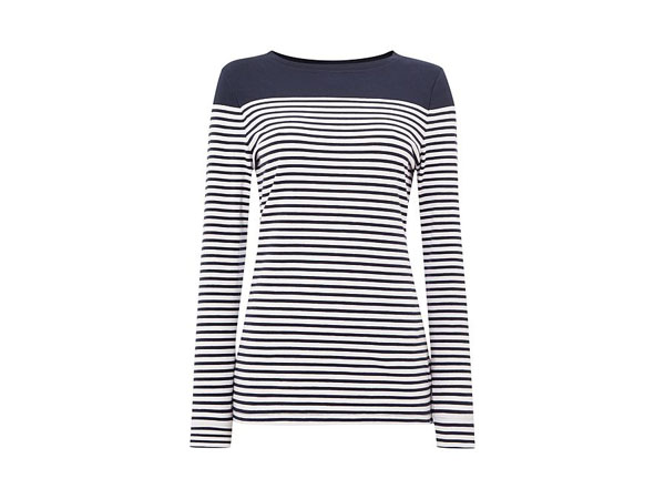 Staithes stripe and plain body panelled top from Barbour