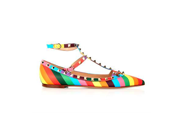 1973 rainbow rockstud leather flats from Valentino