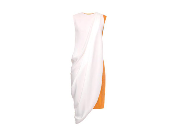 Contrast draped, panel cut-out jersey dress from Lucas Nascimento