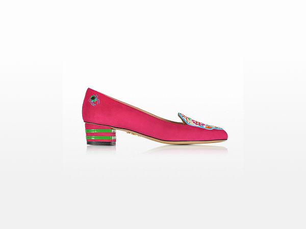 Day of the Dead fiesta pink suede pumps from Charlotte Olympia