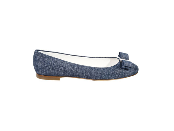 Denim bow tie ballerina from Salvatore Ferragamo