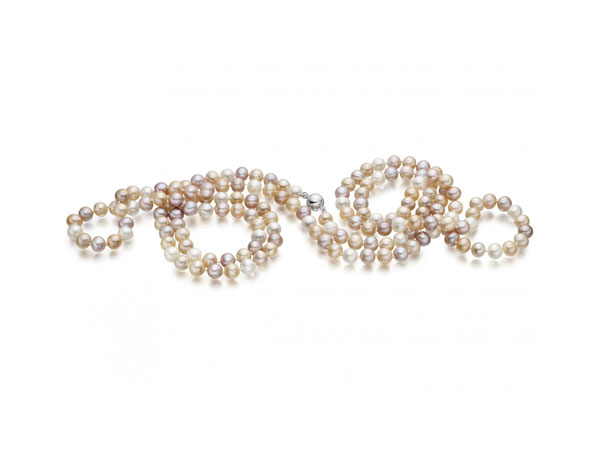 Long multi-coloured freshwater pearl rope necklace from Winterson