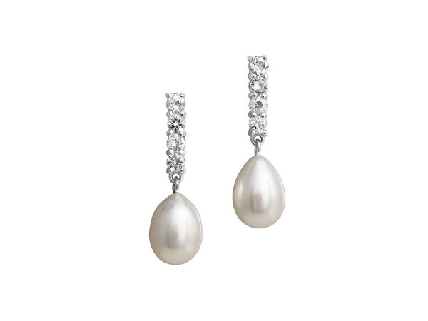 Pearl and topaz drop earrings from Jersey Pearl