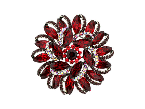 Ruby-red Swarovski crystal sunflower brooch from Brooches Store