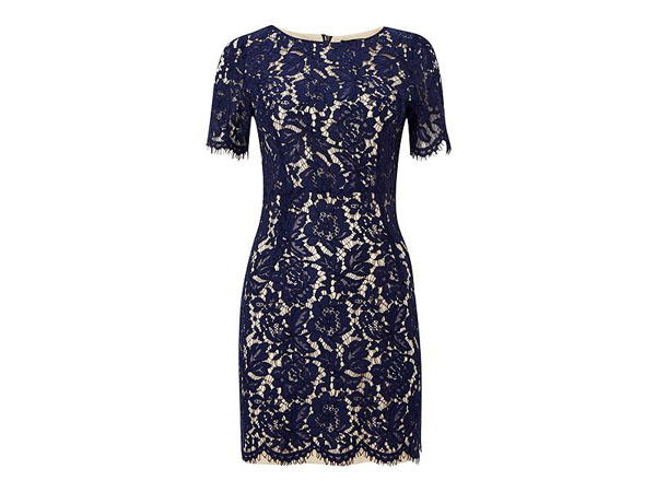 Short sleeved lace overlay bodycon dress from tfnc London