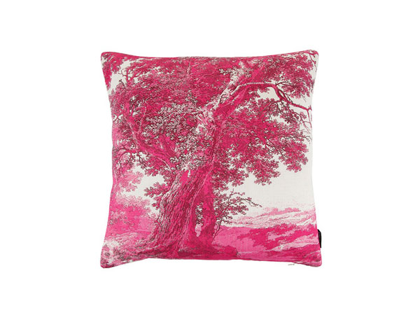 Trees Two pink linen cushion from Boho & Co