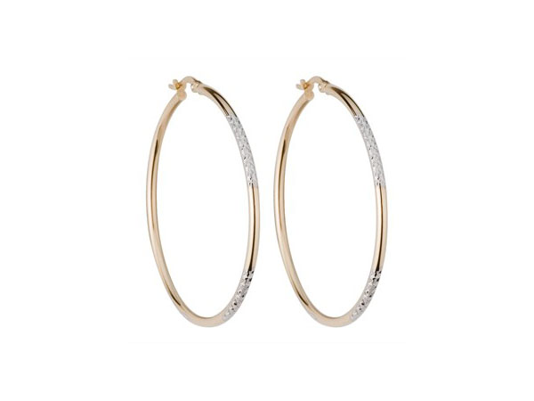 Two colour gold and diamond cut hoop earrings from Fraser Hart