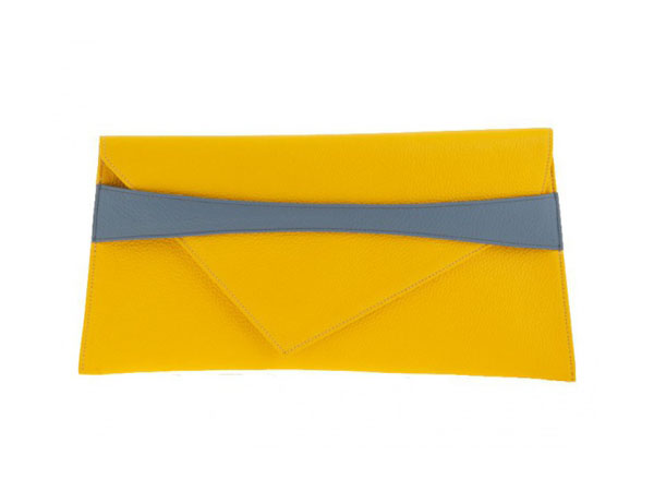 Yellow clutch with fringe from Georgina Skalidi
