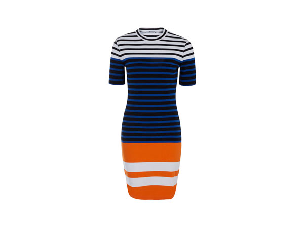 Blue engineered stripe dress from T by Alexander Wang