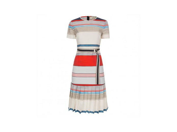Coloured stripe linen-blend drop-skirt dress from Paul Smith