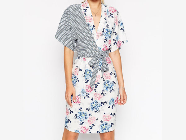 Kimono wrap dress in mixed print from ASOS