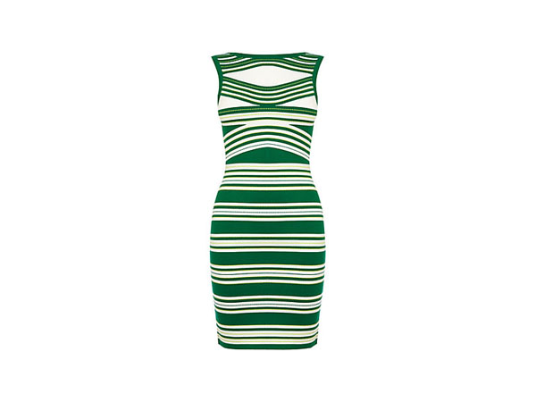 Knitted green stripe dress from Karen Millen