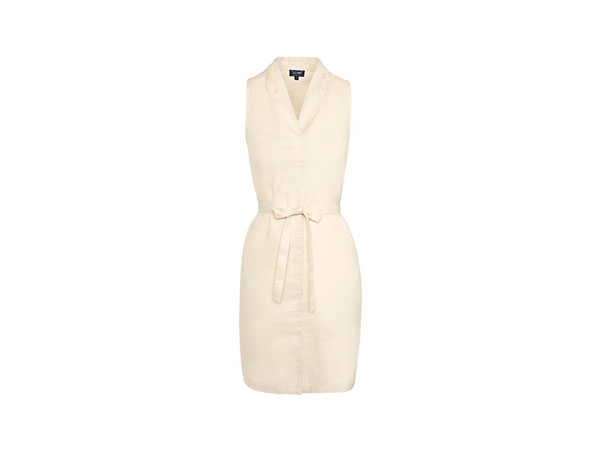 Linen belted dress in beige from Armani Jeans