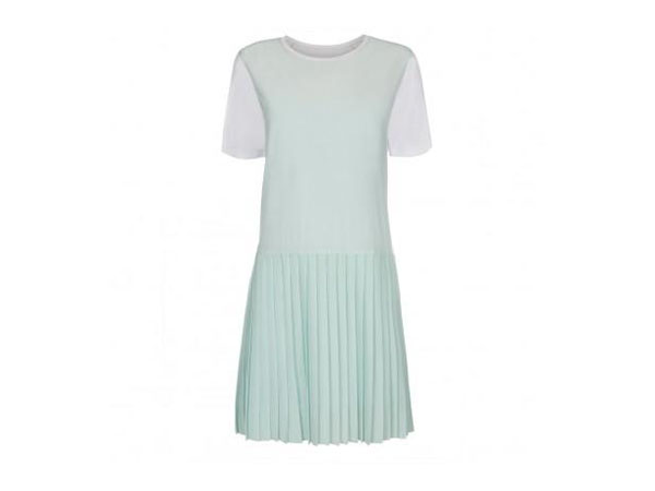 White silk and jersey dress with pleated mint skirt from Paul Smith