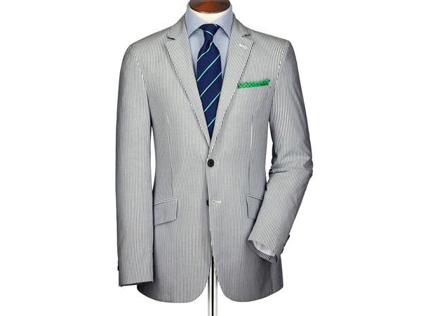 Blue and white stripe seersucker slim fit jacket from Charles Tyrwhitt