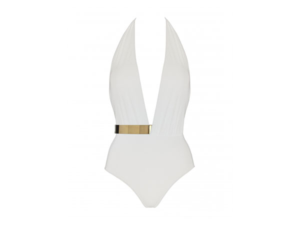Bridget plunge front swimsuit with gold belt from Moeva London