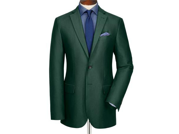 Green Oxford unstructured slim fit jacket from Charles Tyrwhitt