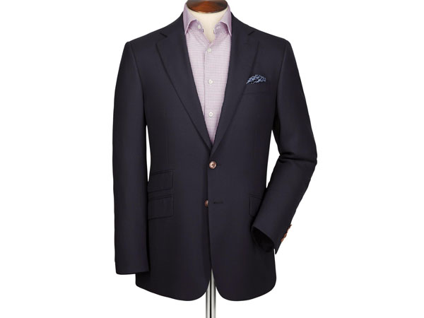 Navy textured wool classic fit blazer from Charles Tyrwhitt