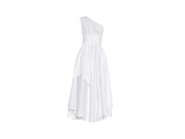 One-shoulder cotton-poplin dress from Tibi