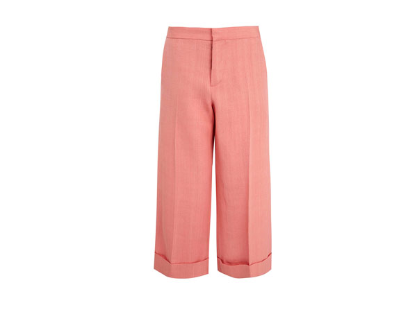 Pink wide crop linen-blend trousers from Marni