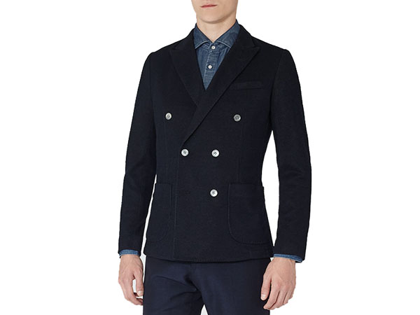 Pitti B navy double breasted blazer from Reiss