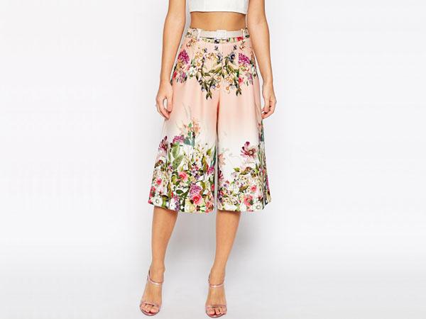 Scuba culotte in garden floral print from ASOS Premium