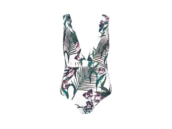 V-neck nude palm floral swimsuit from Ted Baker