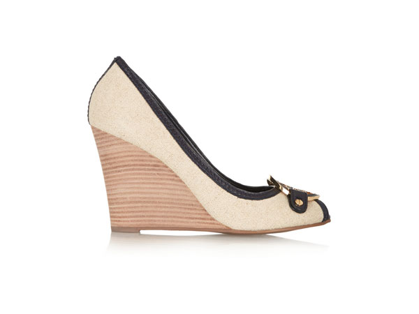 Amanda leather-trimmed canvas wedge pumps from Tory Burch