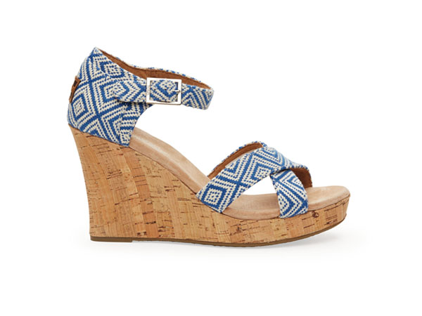 Ink woven diamond strappy wedge from Toms