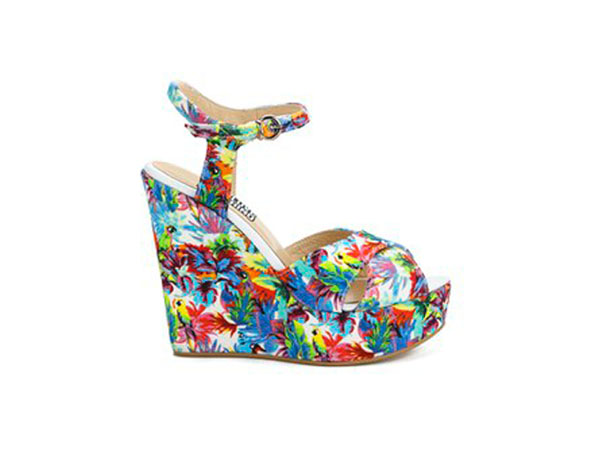 Printed wedged sandals from Love Moschino