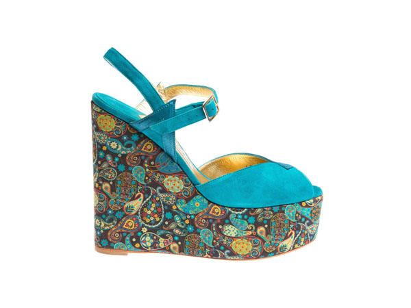 Teal totem marky wedge sandals from Terry de Havilland