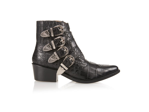 Buckle crocodile-effect leather boots from Toga