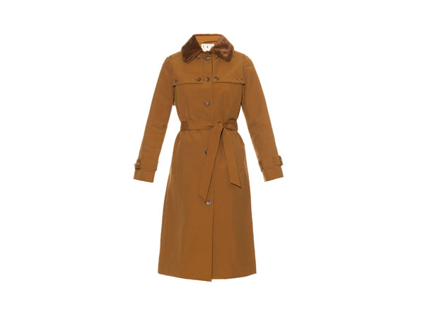 Faux-fur collar cotton-blend coat from Trademark