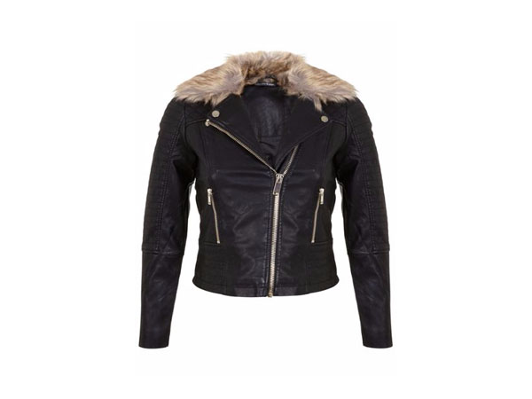 Faux fur-trim jacket from Miss Selfridge